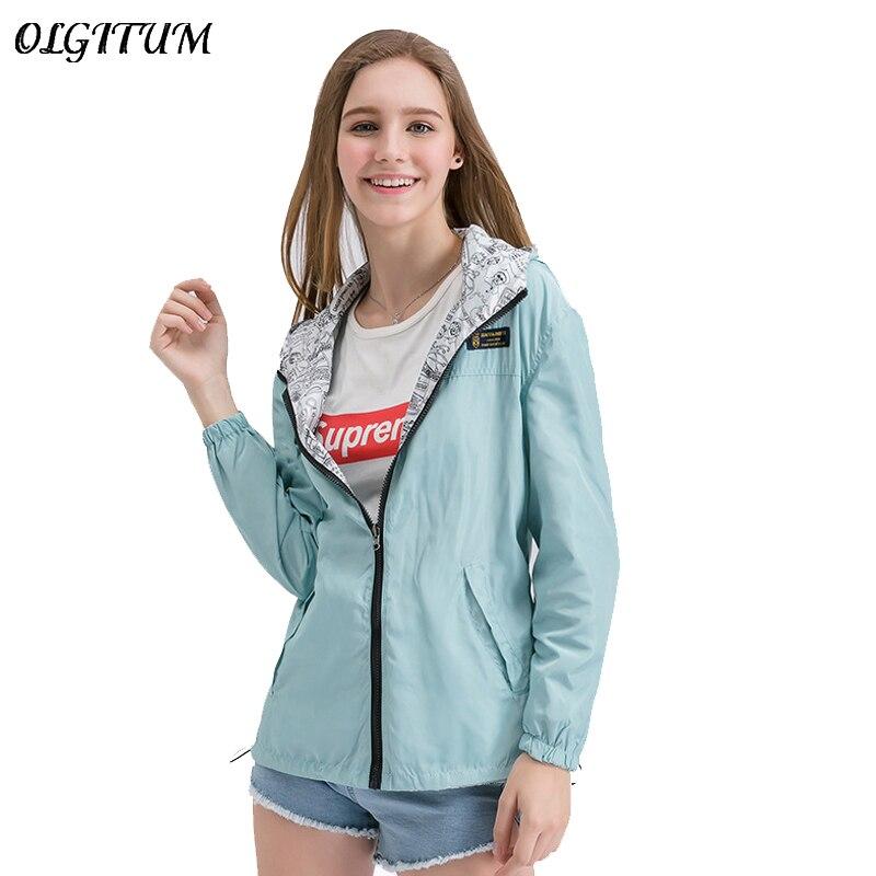2019 Spring Fashion Jacket Women Bomber Women Two side wear Pocket Zipper hooded Jacket Cartoon printing Loose Outwear Plus Size