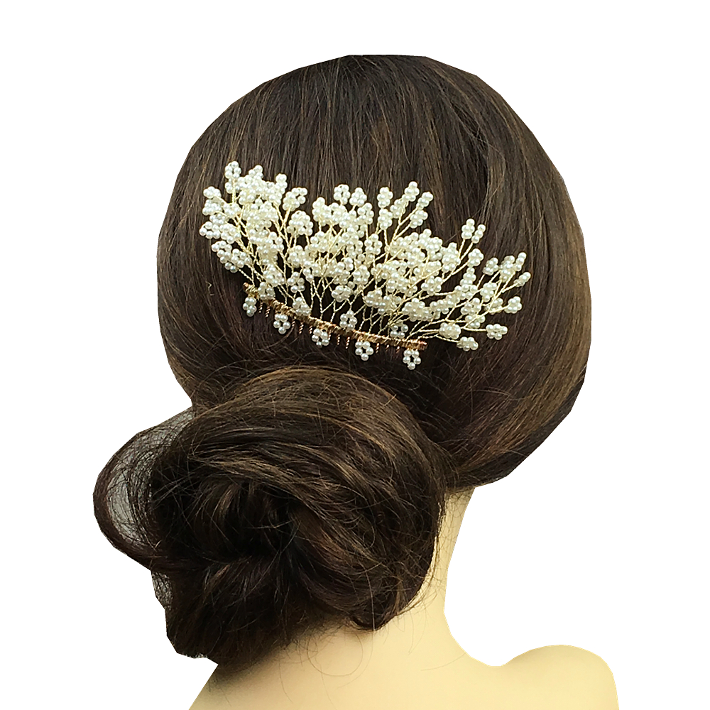 pearl bridal hair comb wedding hair accessories for bride beaded combs hair jewelry clip headpiece bijoux cheveux wigo1230-in hair jewelry from