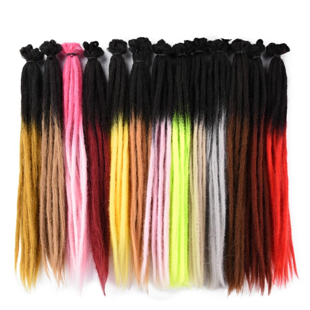AliLeader Handmade Crochet Braiding Hair Extensions Long Straight Ombre Hair Synthetic Hair Dreadlocks Braids 1 Root 20