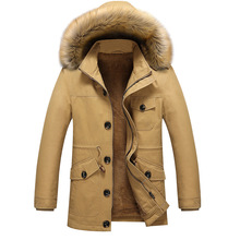 Plus Size 4XL 5XL Winter Mens Thicken Warm Parka Man 100% Cotton Fabric Fur Liner Hooded Outdoors Casual Cargo Jackets And Coats