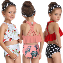 цена Baby Girls Summer Floral Print Swimwear Kids Child Swimsuit Bikini Set Swimsuit Beachwear Biquni Split Two-pieces Bathing suit онлайн в 2017 году