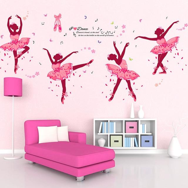 90*60 Cm Vier Rosa Mädchen Tanzen Ballett DIY Wandaufkleber Schmetterling  Wandtattoo Wohnkultur Ballett Studio