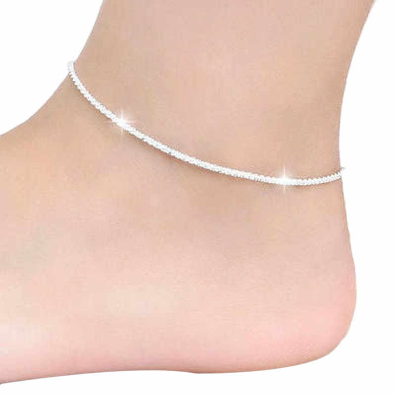 チャンドラービーズチェーンアンクレット足に足ブレスレット女性シンプルなスリム調整可能なワイヤー足首夏ビーチジュエリー卸売