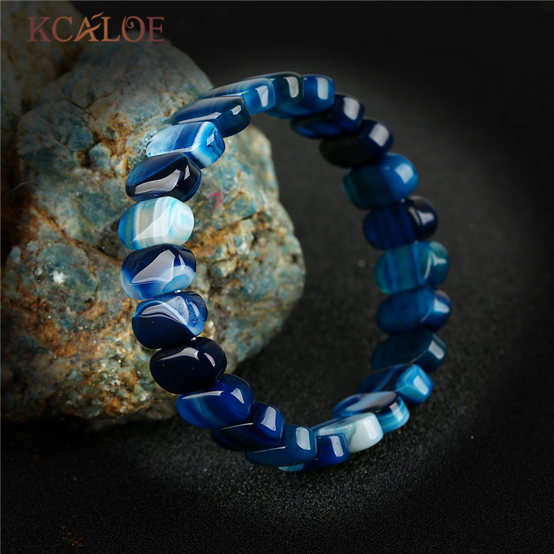 KCALOE Luxury Blue Onyx Agat Bracelets Bangles Female Wedding Stretch Chakra Bracelet For Women Charms Boho Jewelry Braslet ...