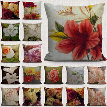 vintage nordic tropical flowers pillow case oil plants decorative pillows covers for a sofa home living roon car seeat