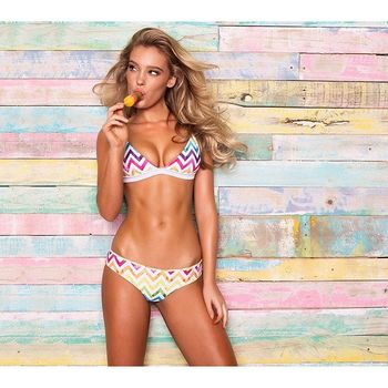 Treasity rainbow bikini 2018 sexy swimwear women biquini Brazilian women mini micro bikini set swimsuit girl stripy swim suit 1