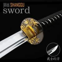 Bamboo Carbon Samurai Sword Martial Arts Black Scabbard Movie Props RPG Supplies Real Sword Katana Souvenir Espada