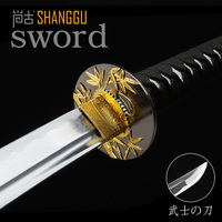 Exquisite Bamboo Carbon Samurai Sword Martial Arts Black Scabbard Movie Props RPG Supplies Real Sword Katana