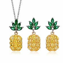 Women's Yellow  Cubic Zirconia Fruit Pineapple Jewelry Sets Crystal Party Pendant Necklace Earrings Free Gifts недорого