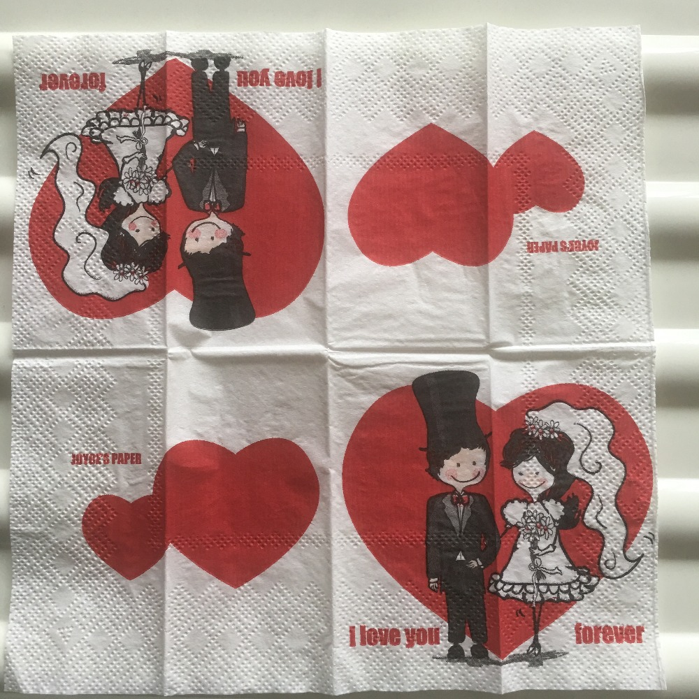 Vintage Napkin Paper Tissue Printed Red Love Heart Bride Groom For Ever Small Handkerchief Wedding Serviettes Party 2packs=20pcs