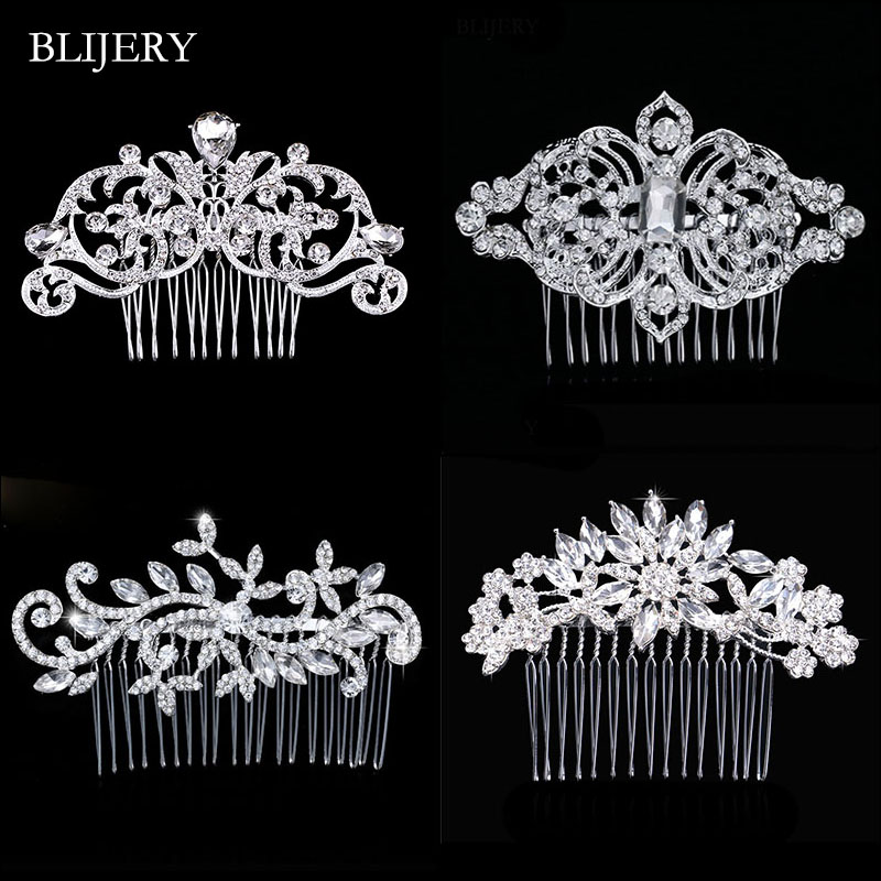 BLIJERY Trendy Bridal Hair Accessories Silver Color Rhinestone Crystal Brides Tiara Floral Wedding Hair Combs Women Hair Jewelry(China)