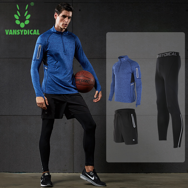 2018 vansydical mens sport suit running suits 3pcs men gym