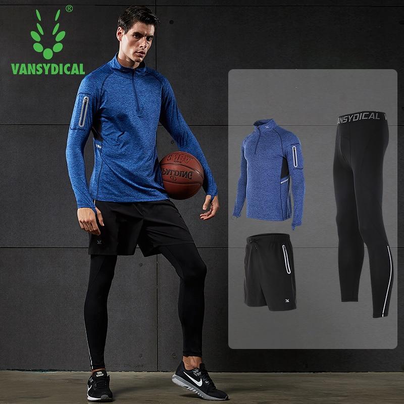 2018 Vansydical hommes Sport costume de course 3 pièces hommes Gym vêtements d'entraînement Sport costumes basket-ball Jersey formation survêtements