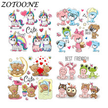 ZOTOONE DIY Applique Patch Stickers Cute Animal Combination Unicorn Rabbit Dog Bear Iron on Transfers Patches for Clothing Bag E