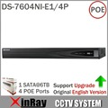 Original DS-7604NI-E1/4P NVR Economic NVR for IP Camera CCTV System  ONVIF 4 POE Interfaces Color Box