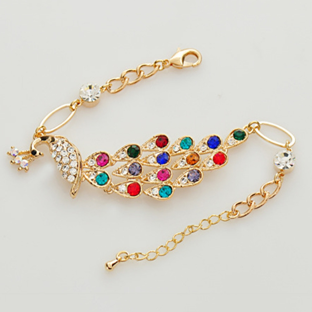 New Hot Colorful Rhinestone Crystal Peacock Bracelet Women Bangle Jewelry Gift
