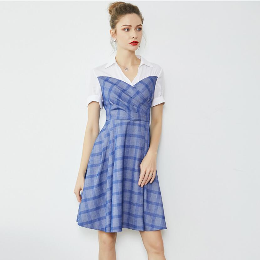 Patchwork down Femmes Supérieure De Piste Pour Qualité Designer Plaid Manches Robe Turn Col 2019 Bleu Courtes Mode Lady D'office Nouvelle Onazzdwq