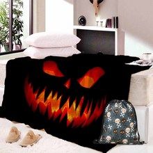 Happy Halloween Christmas Horror pumpkin Flannel Throw Blanket bedding blankets offer soft feel and cozy warmth