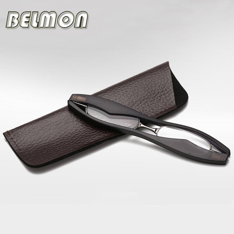 BELMON Mini Folding Magnetic Slim Reading Glasses Foldable Diopter Presbyopic Eyeglasses +1.0+1.5+2.0+2.5+3.0+3.5+4.0 RS025