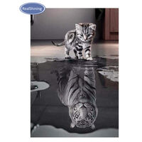 REALSHINING DIY Diamond Painting Cross Stitch Cat Tiger Square Drill Mosaic Decor Painting 100 5d Diamond