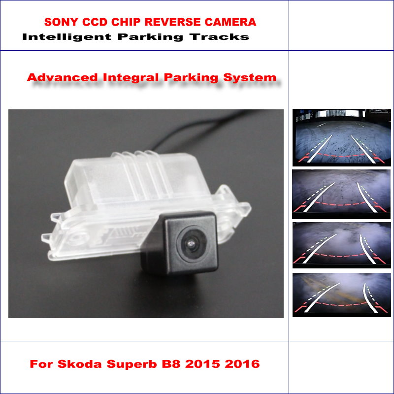 ФОТО Rear Camera For Skoda Superb B8 2015 2016 Intelligent Parking Tracks Backup Reverse / 580 TV Lines Dynamic Guidance Tragectory