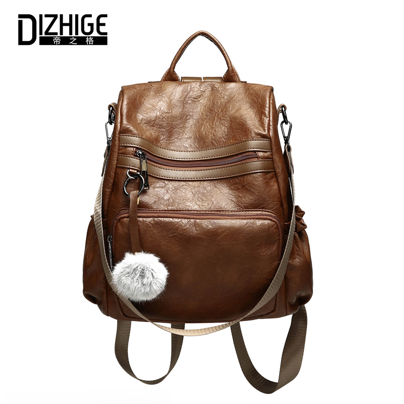 DIZHIGE Brand Vintage Pu Leather Backpack Women Hairball Backpacks For Teenage Girls Shoulder Bags Female Solid Casual Daypacks women backpack large school bags for teenage girls shoulder bag vintage pu leather backpacks black casual solid rucksack xa83h