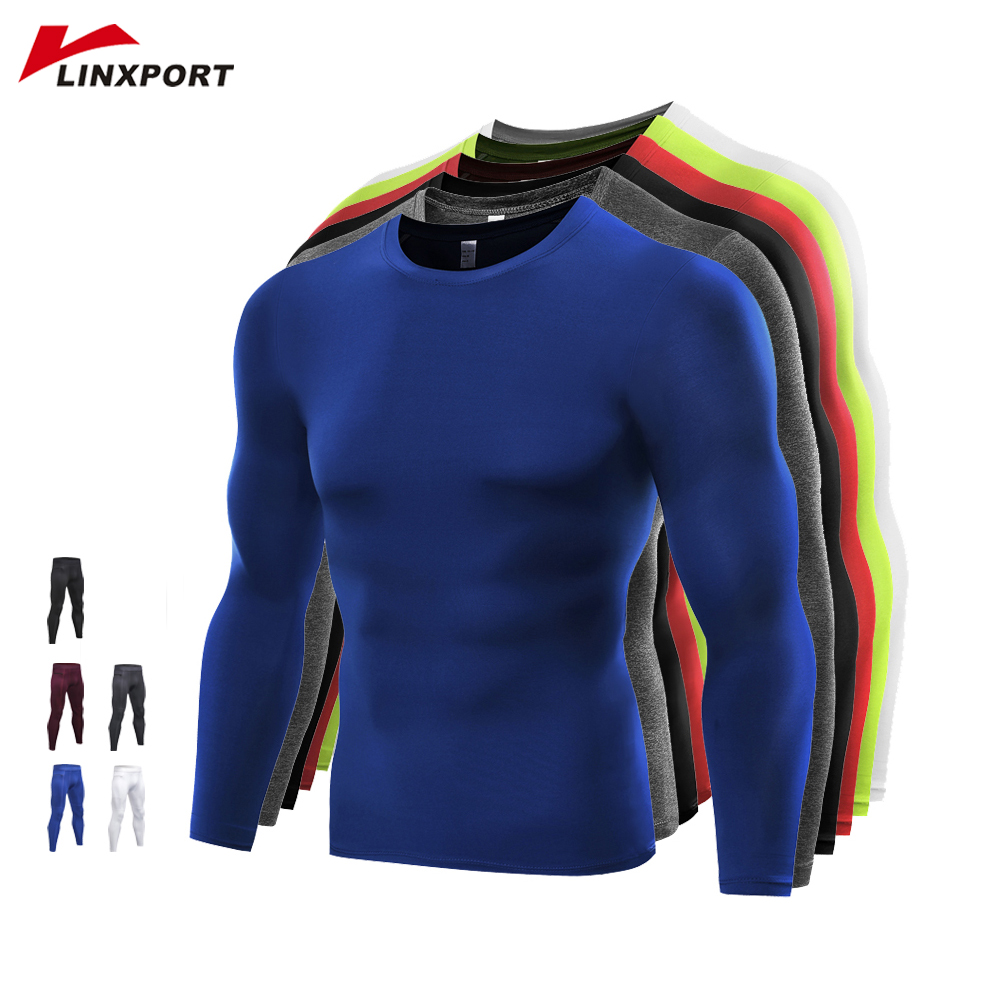 Men's Gym T-shirts Quick Dry Tights Breathable Fitness Tops Soccer Jerseys Running T Shirt Male Sportswear Compression Rashgard