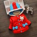 2016 de invierno nuevos niños conejo historieta de las muchachas chaqueta acolchada chaqueta de algodón gruesa ropa de los niños