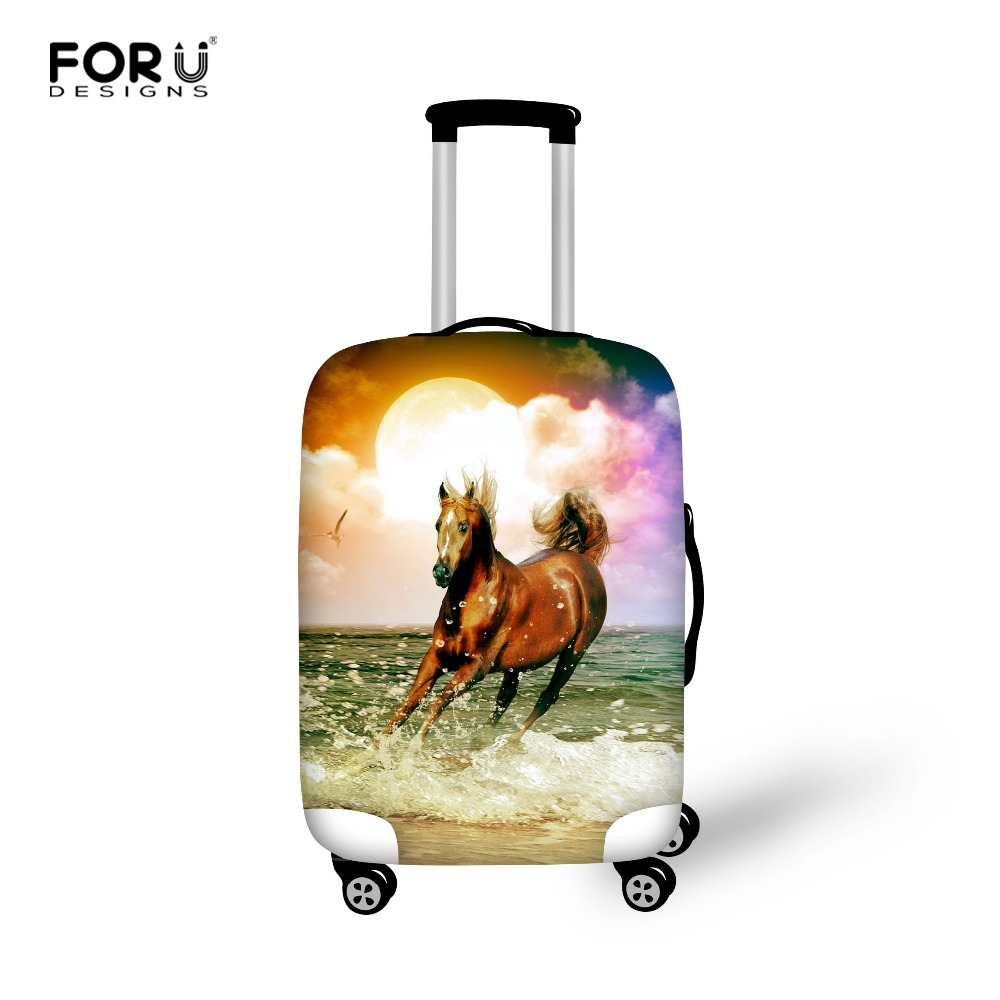 Elastic Luggage Protective Dust Covers To18 20 22 24 26 28 30 Inch Trolley Case Horse Print Waterproof Travel Suitcase Cover