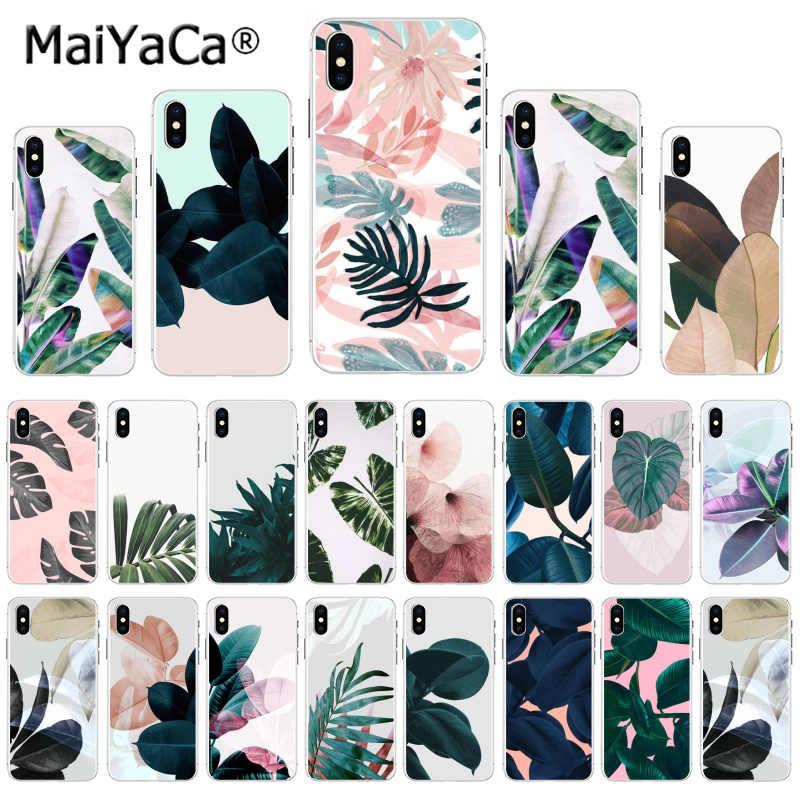 MaiYaCa Plantas Tropicais Cactus Folhas de Bananeira caixa do telefone de venda Quente para o iphone 11 pro 8 7 66S Plus X 5S SE MAX XR XS XS