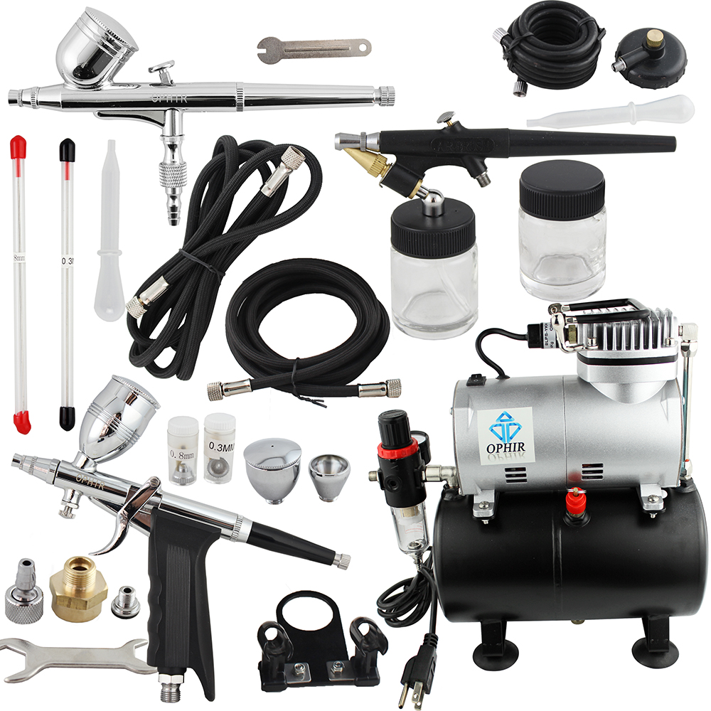 OPHIR Pro Airbrush Kit With Air Tank Compressor For Car