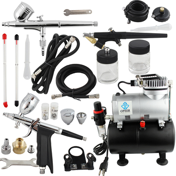 цена на OPHIR Pro Airbrush Kit with Air Tank Compressor for Car Paint Body  Temporary Tattoo Compressor Air-brush Set_AC090+004A+071+069