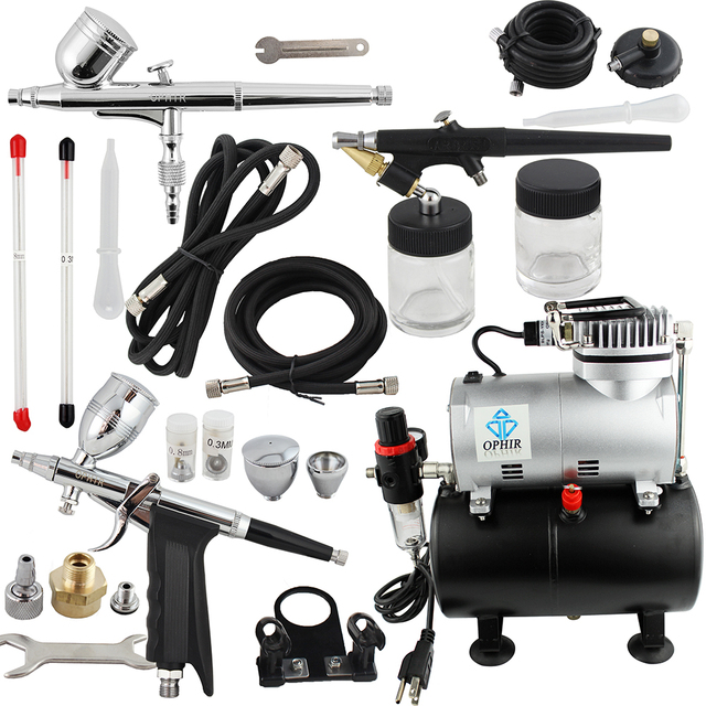 OPHIR Pro Airbrush Kit with Air Tank Compressor for Car Paint Body Temporary Tattoo Compressor Air-brush Set_AC090+004A+071+069