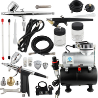 OPHIR Pro Airbrush Kit with Air Tank Compressor for Car Paint Body Temporary Tattoo Compressor Air brush Set_AC090+004A+071+069