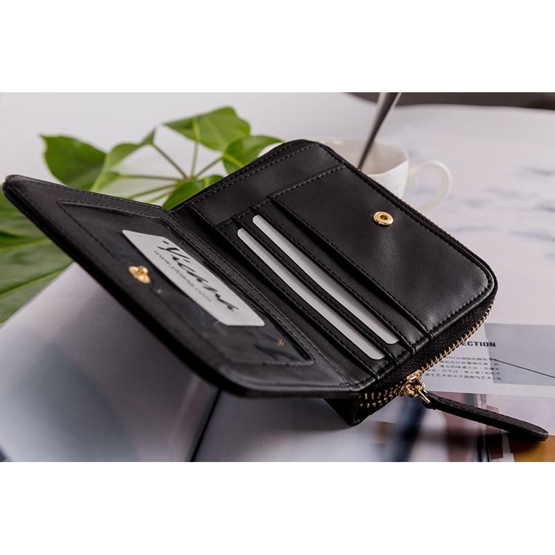 Yicana kort stil Pu Läder Kvinnor plånbok vintage populära svart - Plånböcker - Foto 5