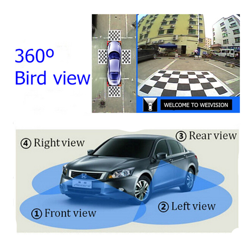 WEIVISION Universale 360 gradi uccello Vista Dell'automobile DVR registrazione surround view system con 4HD vista posteriore vista frontale vista laterale della macchina fotografica