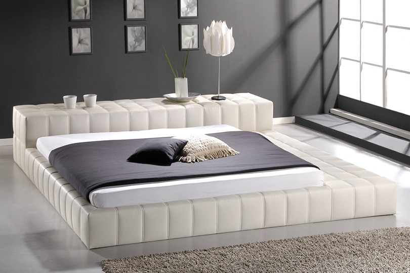 Soft bed chinese grain leather pvc fashion for Pillow back bed frame