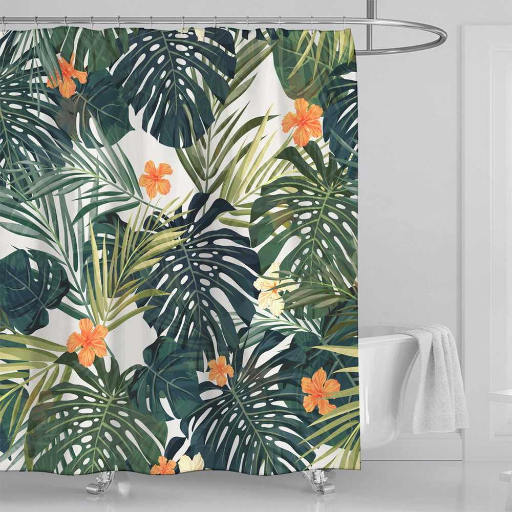 1PC Leaves Print Shower Curtains Green Tropical Plants Shower Curtain Bathroom Waterproof Polyester Shower Curtain With 12 Hooks