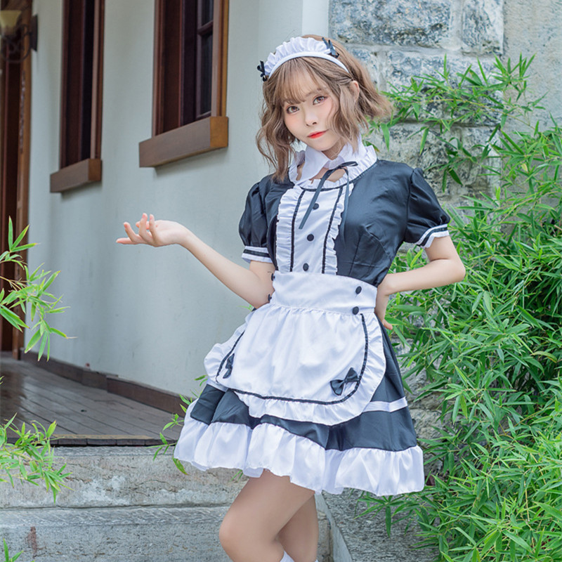 New Sexy Sweet Gothic Lolita Dress French Maid Costume Anime Cosplay Sissy Maid Uniform Plus Halloween Costumes For Women M-5XL