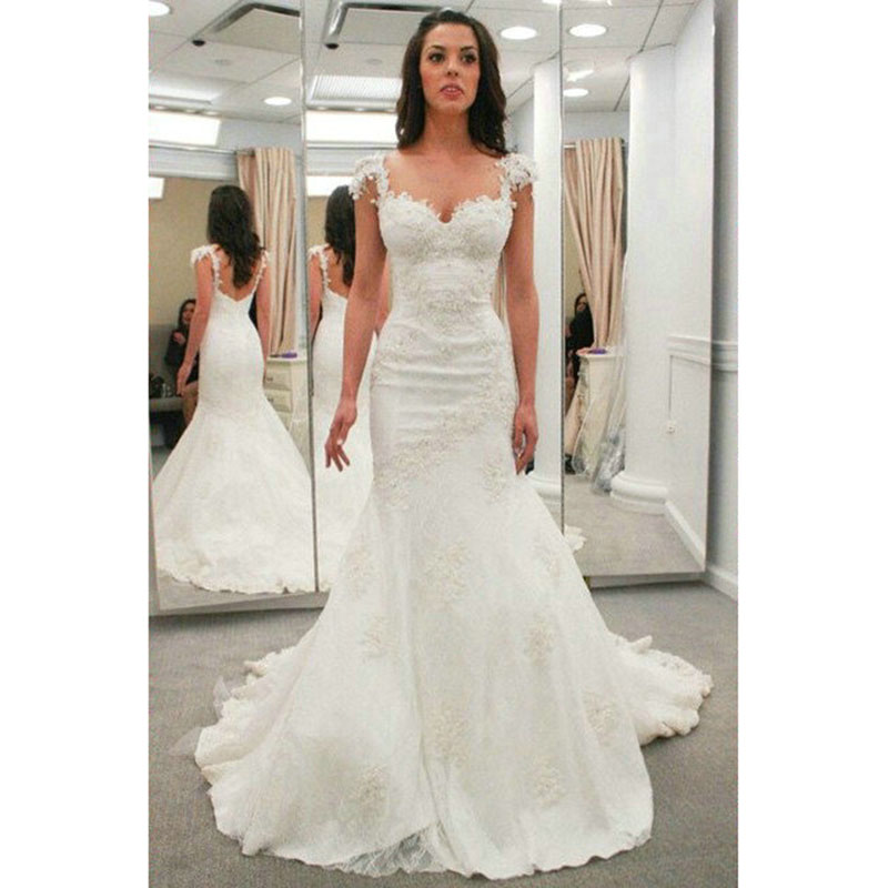 Wedding Gowns With Cap Sleeves: Aliexpress.com : Buy 2017 Mermaid Wedding Dresses Cap