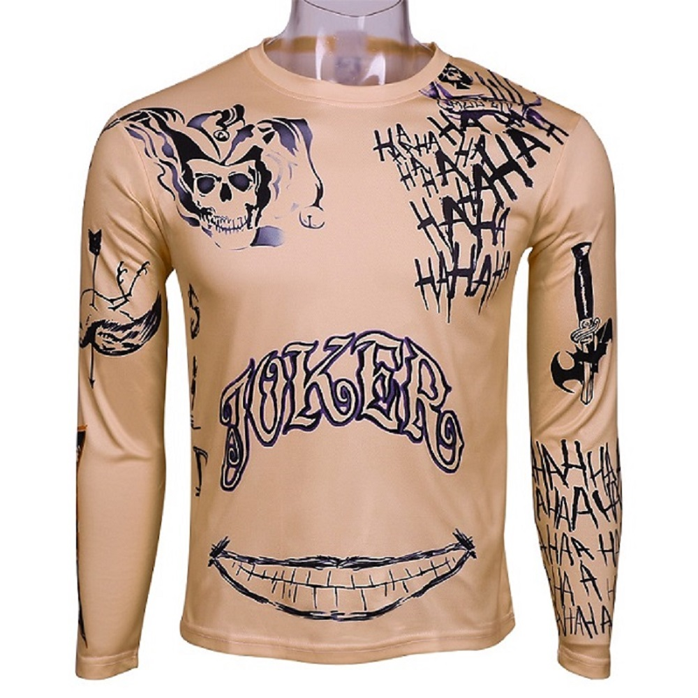 Suicide Squad T-Shirt Joker Tattoos Costume Sublimation Long Sleeve Deadshot Raglan T-Shirt Cosplay Joker T-shirt Halloween