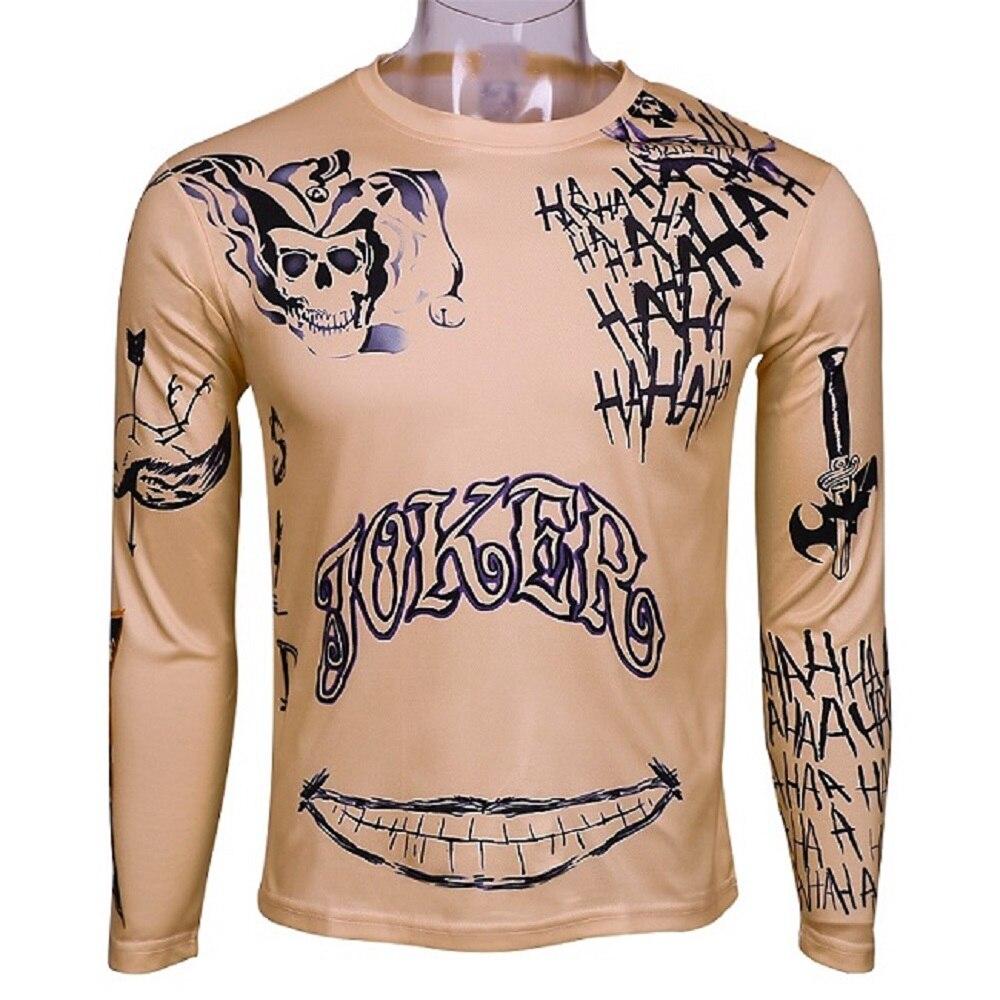 Suicide Squad T Shirt font b Joker b font Tattoos Costume Sublimation Long Sleeve Deadshot Raglan