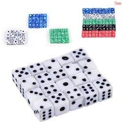 Nuevo juego de dados 20 piezas x dados estándar de 5mm D6 acrílico para jugar juego dados pequeños rojo, azul, verde, blanco, negro al por mayor 2019