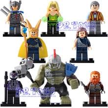 DR TONG 80PCS/LOT X0165 Super Heroes Thor Amora Jane Foster Hulk Loki Sakaarian Guard Grandmaster Volstagg Building Blocks Toys