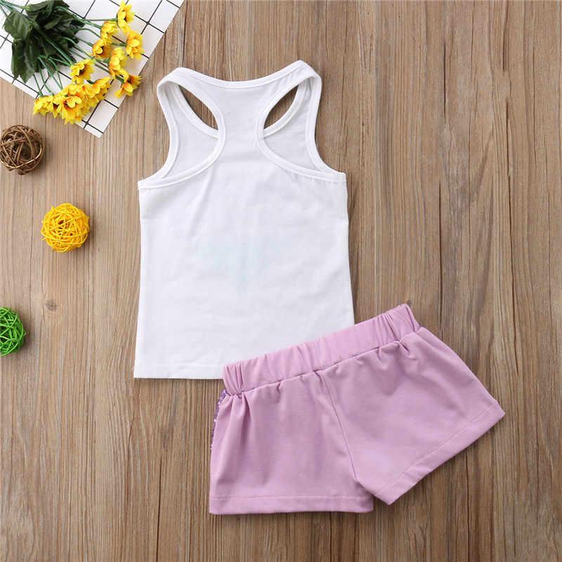Pullu Mermaid Bebek Giyim Setleri Yaz kolsuz yelek T Shirt Tops Yay kısa pantolon Rahat Kıyafetler Bebek Kız Giyim Çocuk