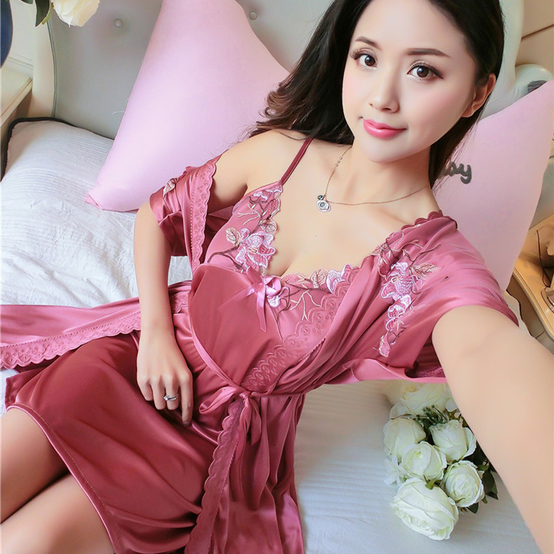 Robe & Gown Sets Summer Pajamas Ice Silk Night Skirt Camisole Nightdress Sexy Sweet Home Furnishing Clothing Factory Directly