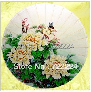 Free shipping dia 84cm chinese handmade elegant butterflies and peony  sunny rainy decoration collection oiled paper umbrella free shipping butterfly and peony oiled paper umbrella dia 84cm anti rain sunshade waterproof dance collection gift umbrella