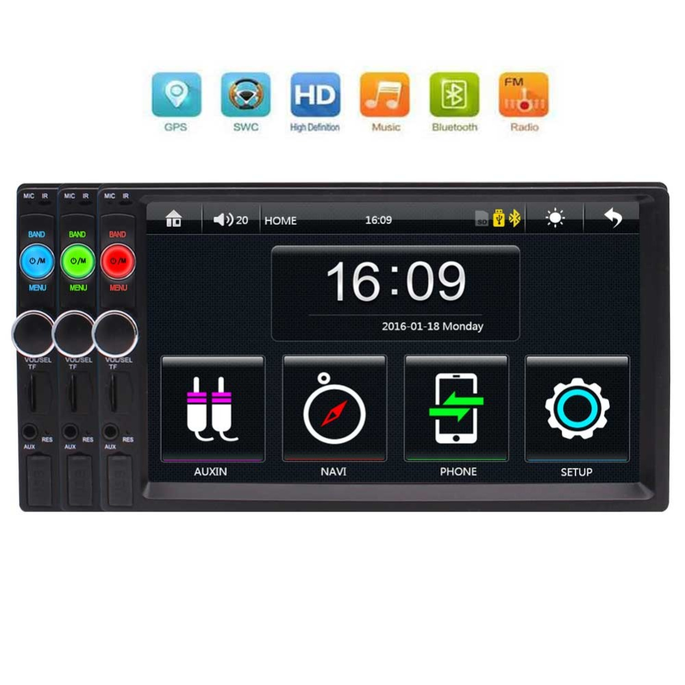 Doppio Din Car Stereo, 7-pollici Touch Screen Car Radio MP3/MP5/FM di Sostegno del Giocatore di Bluetooth/USB/TF con a distanza di Controllo, supporto GPSDoppio Din Car Stereo, 7-pollici Touch Screen Car Radio MP3/MP5/FM di Sostegno del Giocatore di Bluetooth/USB/TF con a distanza di Controllo, supporto GPS