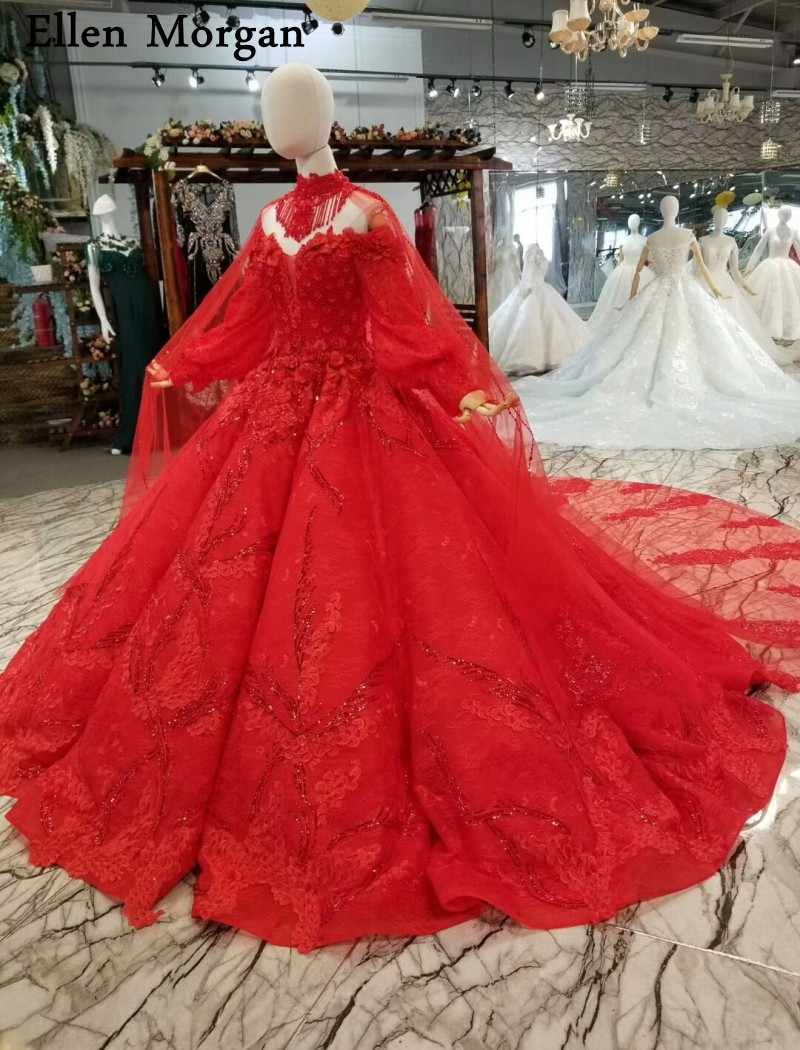 7880d9c5c4 ... Elegant Red Long Sleeves Wedding Dresses with Beaded Sweetheart Off  Shoulder Lace up Real Photos Bridal ...