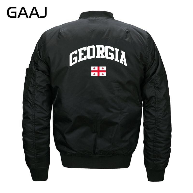 GAAJ גאורגיה דגל מעילי גברים Streetwear מפציץ מעיל O צוואר צבא מעיל רוח מותג בגדי אופנה טחונים בתוספת גודל # E205N